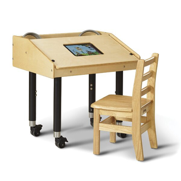Wood Adjustable Height Student Computer Desk by Jonti-Craft
