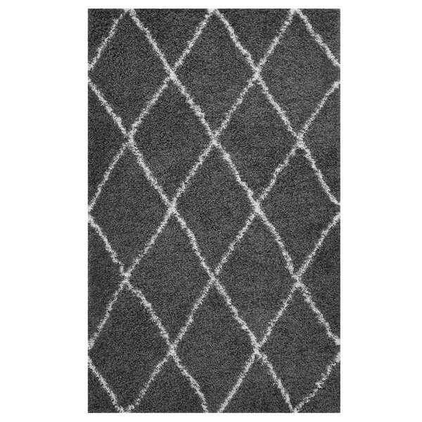 Naveen Diamond Lattice Dark Gray/Ivory Area Rug by The Twillery Co.