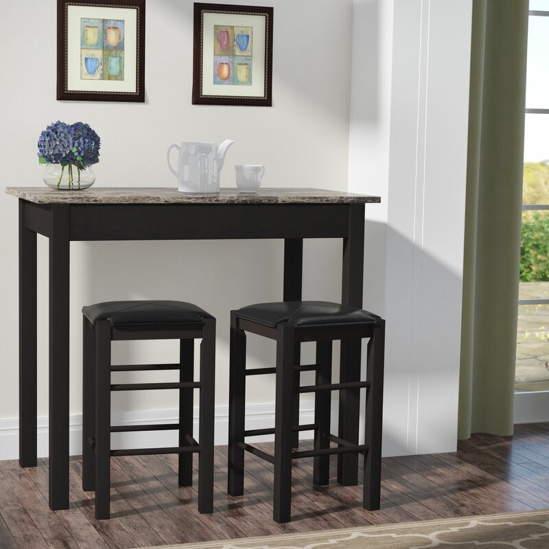 charlton home prosser 3 piece counter height dining set u0026 reviews wayfair