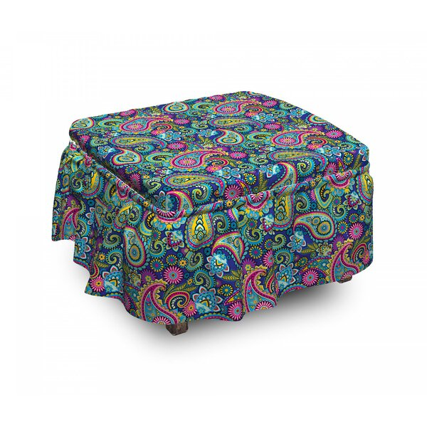 Vintage Paisley 2 Piece Box Cushion Ottoman Slipcover Set By East Urban Home