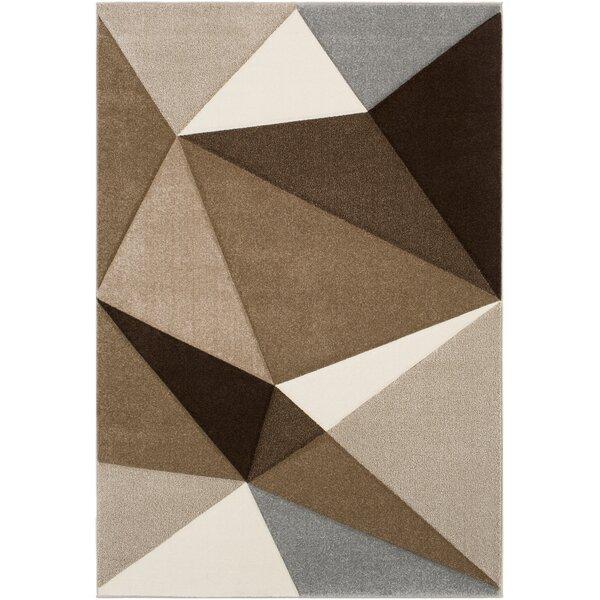 Mott Street Geometric Dark Brown/Camel Area Rug by Wrought Studio