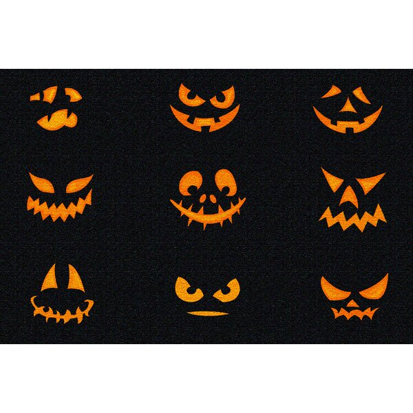 Chappell Jack O Lantern Faces Halloween Black/Orange Area Rug by The Holiday Aisle