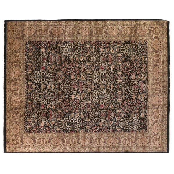 Traditional Hand-Knotted Wool Black/Green Area Rug