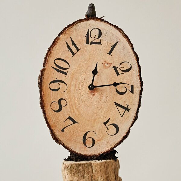 Farren Fir Wood Sliced Wall Clock by August Grove