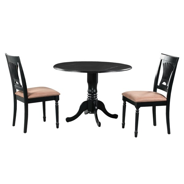 Sickles 3 Piece Drop Leaf Solid Wood Dining Set by August Grove