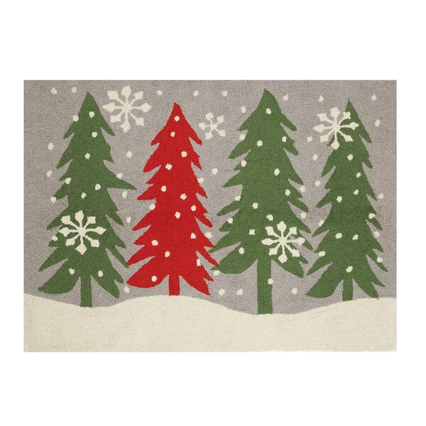 Mathews Scandinavian Christmas Tree Hand-Hooked Wool Red/Green Area Rug by The Holiday Aisle