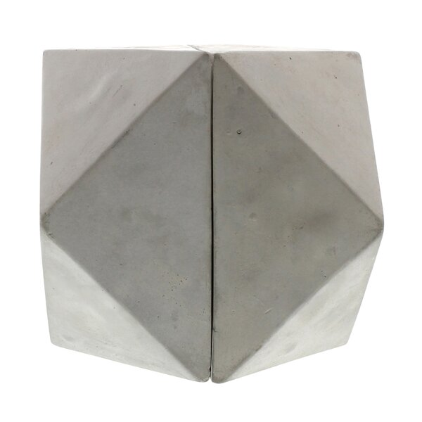 Geometric Cement Cuboctahedron Bookends (Set of 2) by Williston Forge