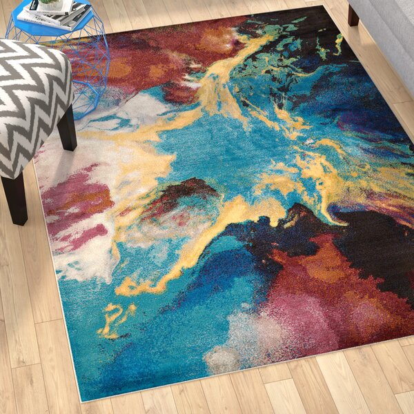 Ehlert Nebula Blue/Brown/Ivory Area Rug by Ebern Designs