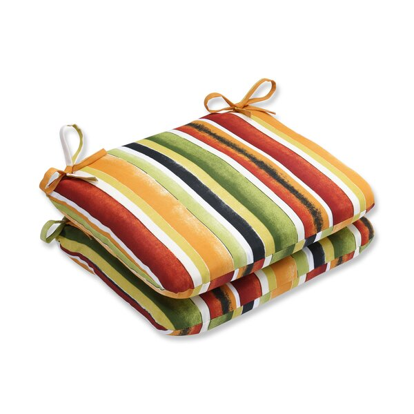 Dina Noir Indoor/Outdoor Dining Chair Cushion (Set of 2) by Pillow Perfect