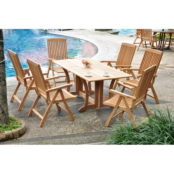 Sealrock Luxurious 7 Piece Teak Dining Set by Rosecliff Heights
