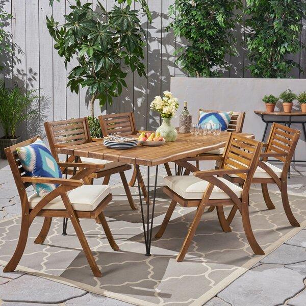Martinez Patio 7 Piece Dining Set with Cushions Bayou Breeze W001434670