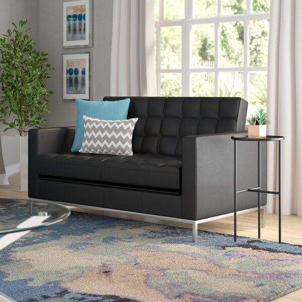 Beautiful Pyron Leather Loveseat by Latitude Run by Latitude Run