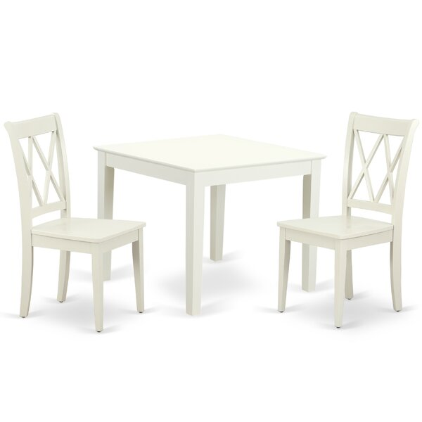 Laleia 3 Piece Solid Wood Dining Set by August Grove