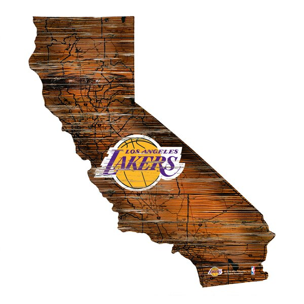 NBA Lakers Distressed State Wall Décor by Fan Creations