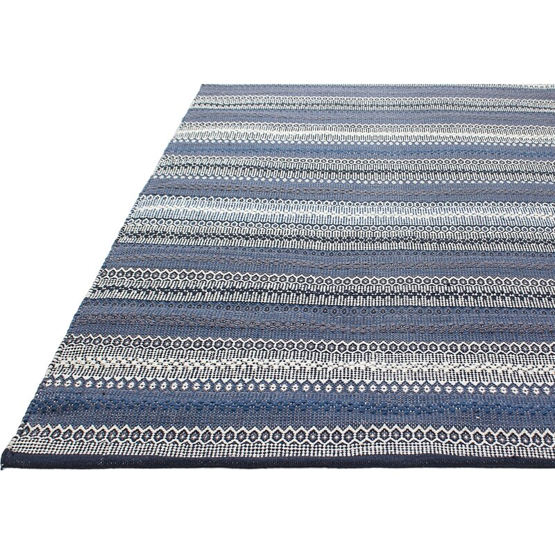 Avaline Hand Woven Cotton Blue White Area Rug