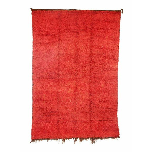 Zemmour Vintage Moroccan Hand Knotted Wool Red Are Rug by Indigo&Lavender