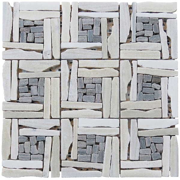 Landscape Wonder 12.5 x 12.5 Quartzite Basketweave Natural Stone Blend Mosaic Tile in White and Gray by Intrend Tile