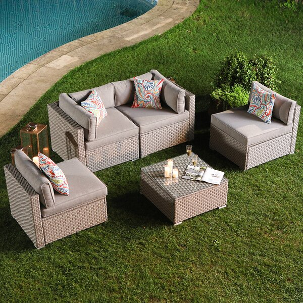 Huyett 5-Piece Outdoor Furniture Set Warm Gray Wicker Sectional Sofa W Thick Cushions, Glass Coffee Table, 4 Floral Fantasy Pillows by Wrought Studio