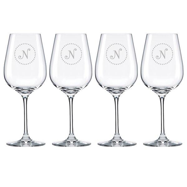 Navy Dots Tuscany Monogram Pinot Grigio 16 Oz. White Wine Glass (Set of 4) by Lenox