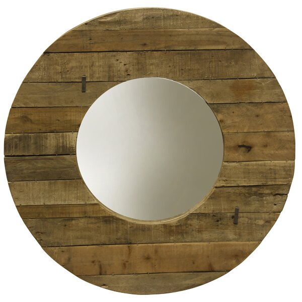 Hardnett Slatted Round Wall Accent Mirror by August Grove