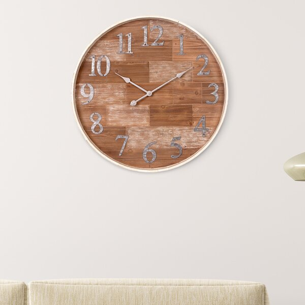 Oversized Catlett Rustic Barrel 28 Wall Clock by Union Rustic