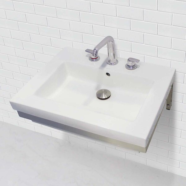 Ciera Classically Redefined Rectangular Lavatory 24 Wall Mount Bathroom Sink with Overflow by DECOLAV