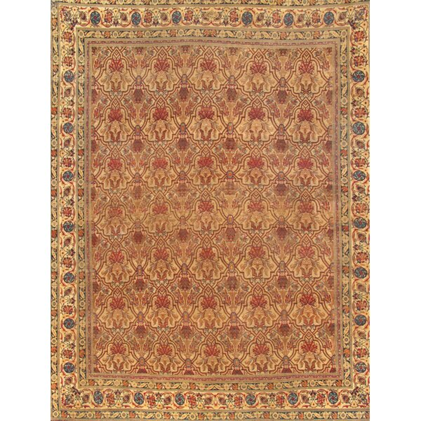 Hand Knotted Wool Orange/Beige Rug