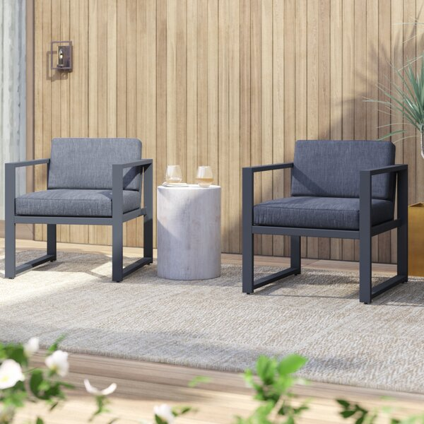 Mirando Patio Chair with Cushions (Set of 2) by Mercury Row Mercury Row