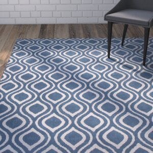 Moravian Hand-Tufted Blue/Ivory Area Rug