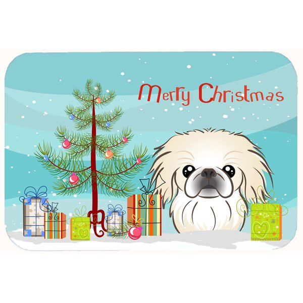 Christmas Tree and Pekingese Kitchen/Bath Mat by The Holiday Aisle