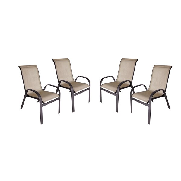Jame Stacking Patio Dining Chair (Set of 4) by Red