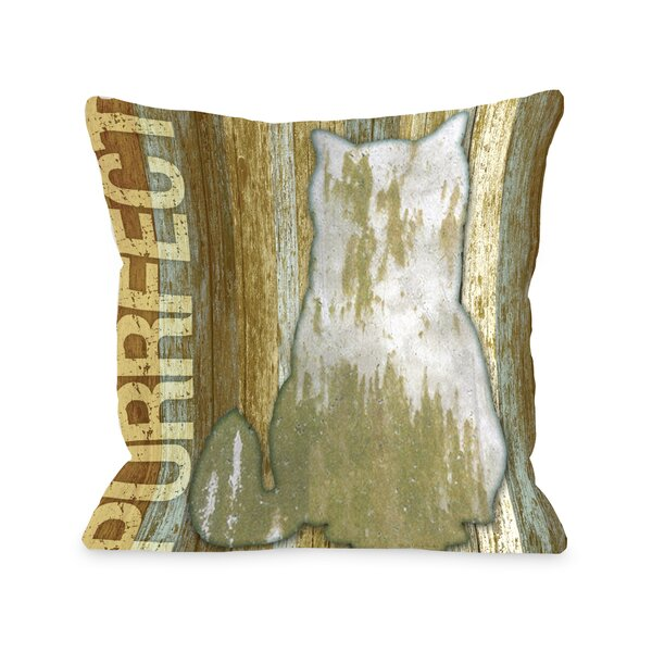 Doggy Décor Purrfect Wood Throw Pillow by One Bella Casa