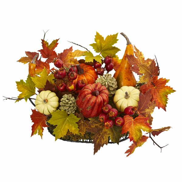 Artificial Pumpkin, Gourd, Berry and Maple Leaf Floral Arrangement by The Holiday Aisle
