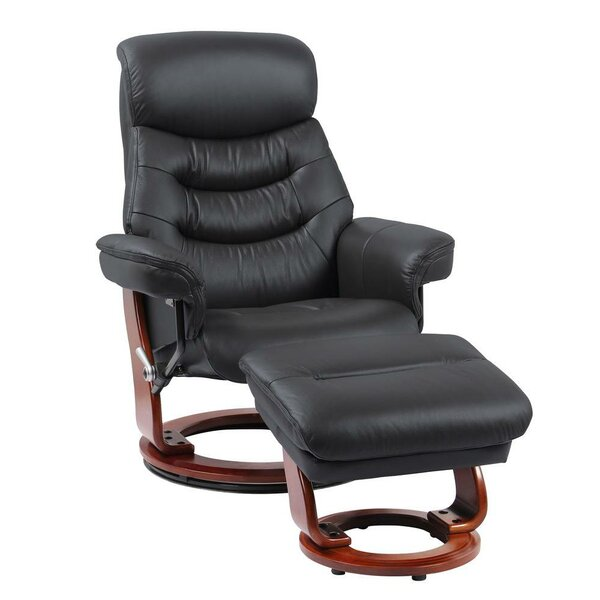 Naranjo Leather Manual Swivel Recliner with Ottoman by Latitude Run