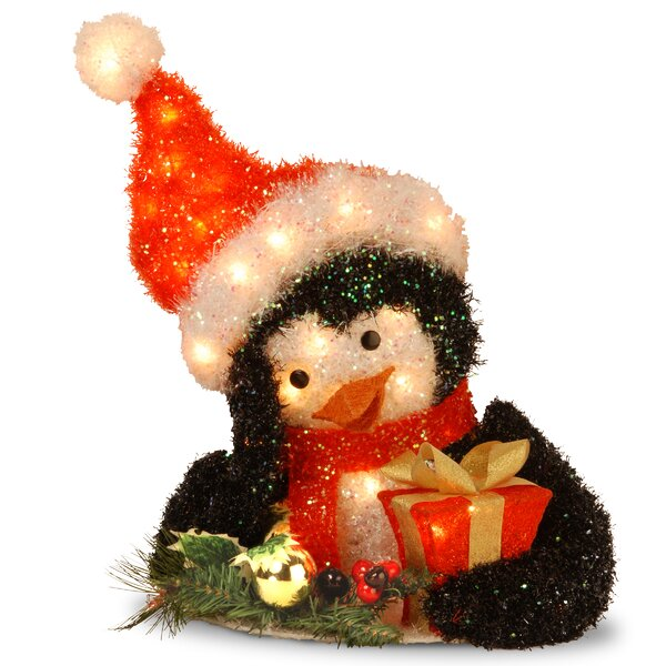 Decorative Décor Pre-Lit Penguin Holding Gift Christmas Decoration by The Holiday Aisle
