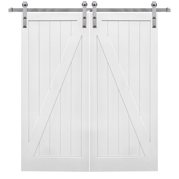 Double Stile and Rail Z Planked 2 Panel Interior Barn Door with Hardware by Verona Home Design
