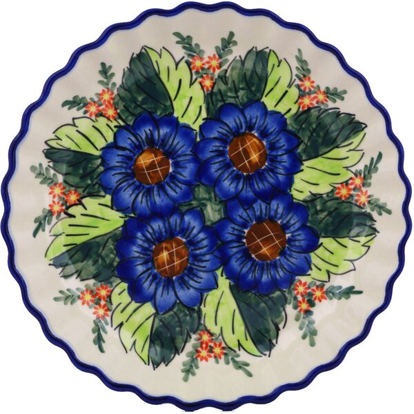Blue Bouquet Fluted Pie Dish by Polmedia