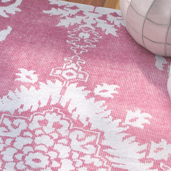 Moulouya Hand-Knotted Pink Area Rug by Bungalow Rose