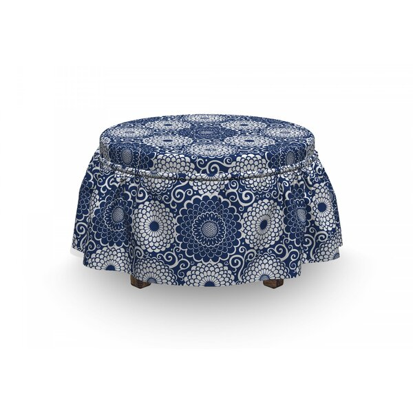Sales Large Flowers Curls Ottoman Slipcover (Set Of 2)