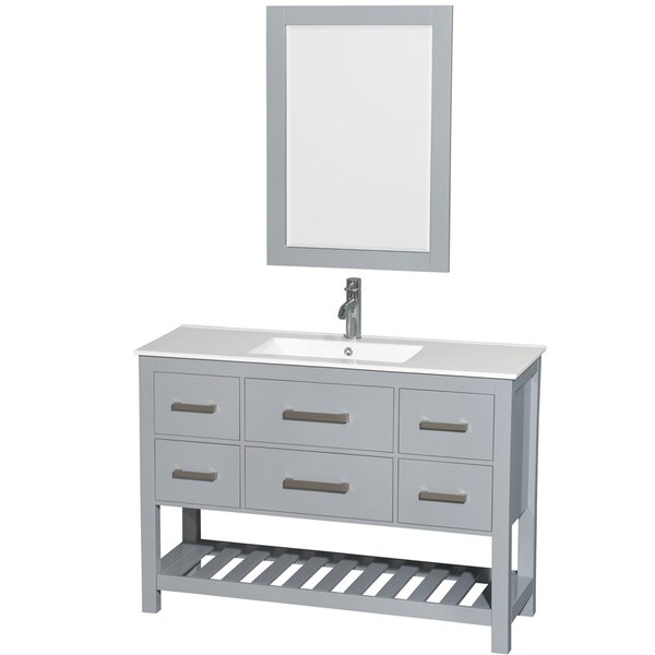 Natalie 48 Single Gray Bathroom Vanity Set with Mirror by Wyndham Collection