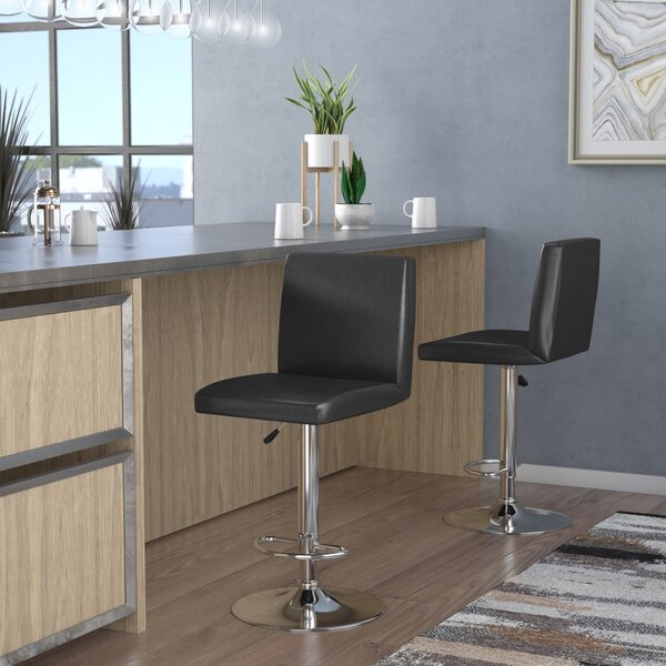 Compton Martin Adjustable Height Swivel Bar Stool by Wade Logan