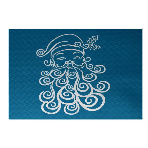 Santa Baby Decorative Holiday Print Turquoise Indoor/Outdoor Area Rug by The Holiday Aisle