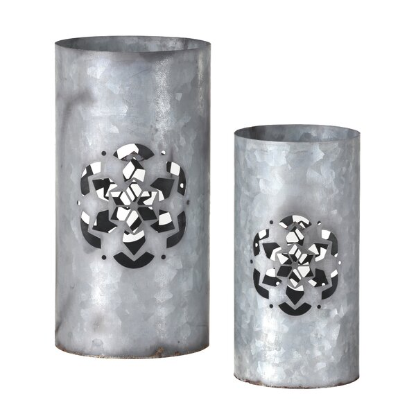 Snowflake Cutout 2 Piece Metal Votive Holder Set by The Holiday Aisle