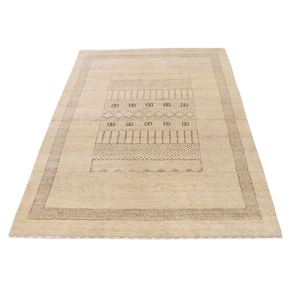 One-of-a-Kind Bagwell Undyed Natural Hand-Knotted Ivory Area Rug by Isabelline