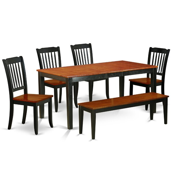 Kring 6 Piece Extendable Solid Wood Breakfast Nook Dining Set by August Grove