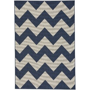 Palm Cove Chevron Blue/Beige Indoor/Outdoor Area Rug