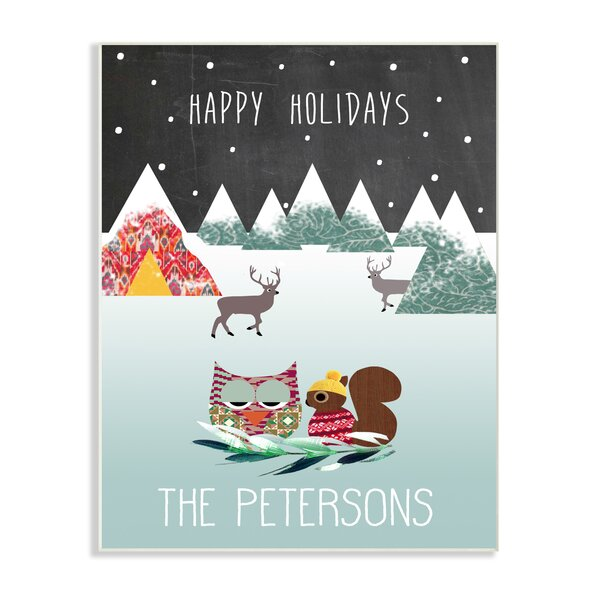 Personalized Happy Holidays Whimsical Woodland Graphic Art on Plaque by Stupell Industries