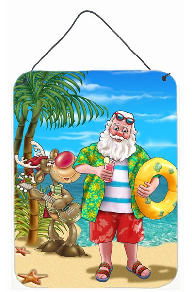 Beach Christmas Santa Claus Swimming Graphic Art P