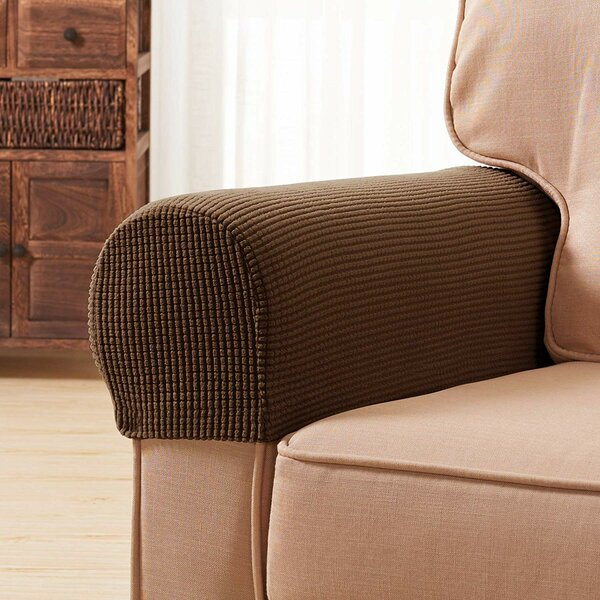 Check Price Jacquard Spandex Stretch Box Cushion Armrest Slipcover (Set Of 2)