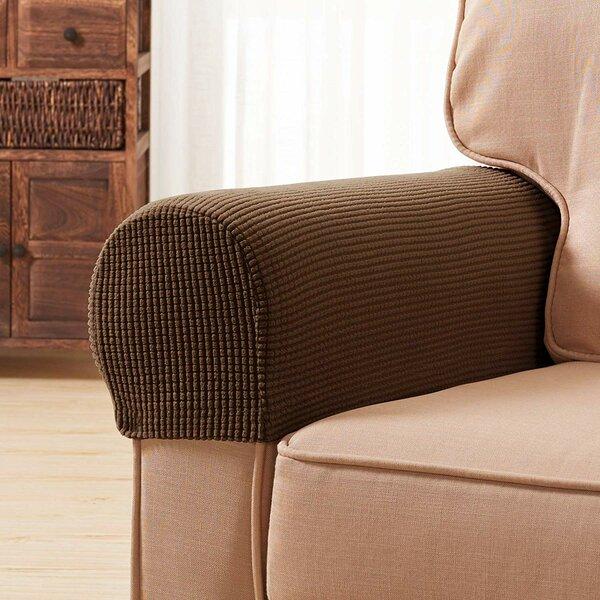 Read Reviews Jacquard Spandex Stretch Box Cushion Armrest Slipcover (Set Of 2)
